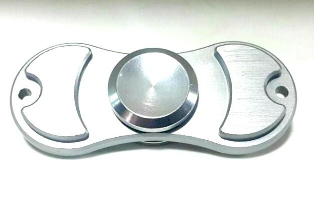 Hand Spinner de Metal Prata 2 pontos - Rolamento Anti Estresse Fidget Hand Spinner