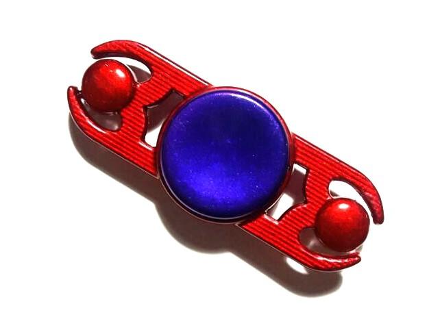 Hand Spinner de Metal Vermelho 2 pontas com centro Roxo - Rolamento Anti Estresse Fidget Hand Spinner