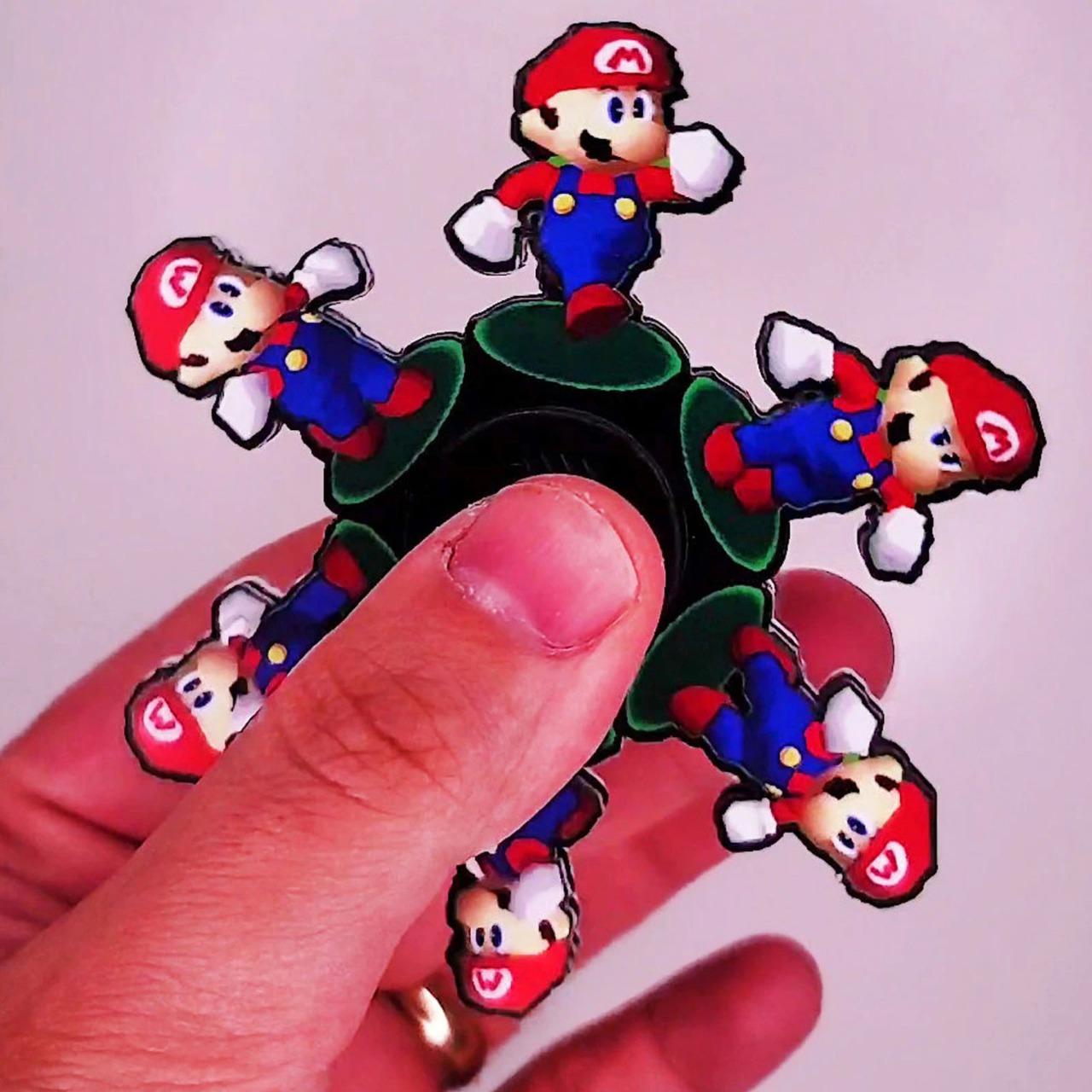 Hand Spinner Motion Mario: Super Mario 64 - Rolamento Anti Estresse Fidget Hand Spinner - EVALI