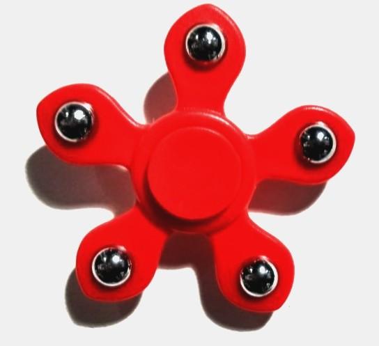 Hand Spinner Metal com bolinha 6 pontos Vermelho - Rolamento Anti Estresse Fidget Hand Spinner