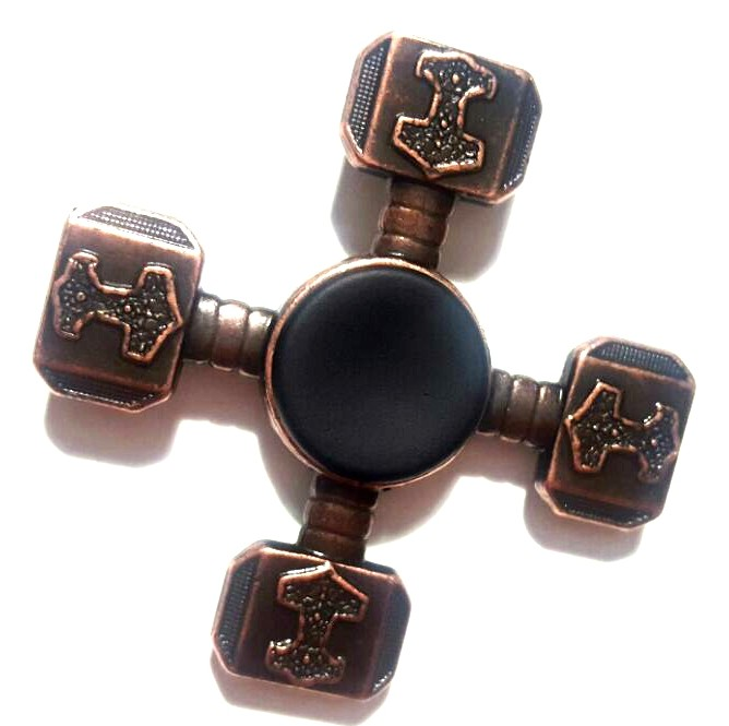 Hand Spinner Metal Martelo Bronze - Rolamento Anti Estresse Fidget Hand Spinner
