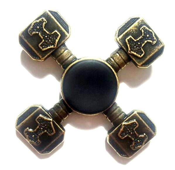 Hand Spinner Metal Martelo Dourado - Rolamento Anti Estresse Fidget Hand Spinner