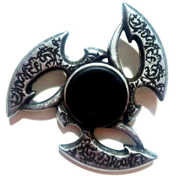 Hand Spinner Metal Prata com centro Preto - Rolamento Anti Estresse Fidget Hand Spinner
