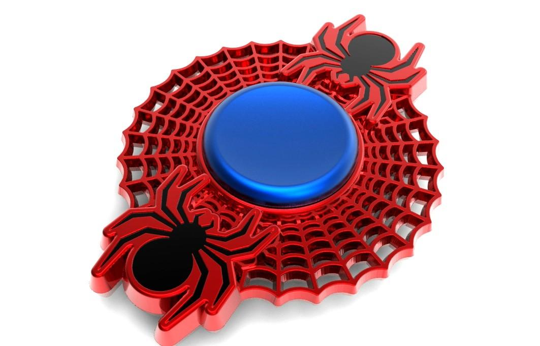 Hand Spinner Teia de Aranha com centro Azul - Rolamento Anti Estresse Fidget Hand Spinner