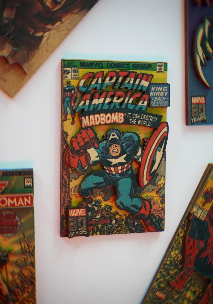 Imã de Geladeira 3D Capa Quadrinhos Comics Retrô  Capitão América Captain America: Marvel Comics Adesivo Magnético - EV