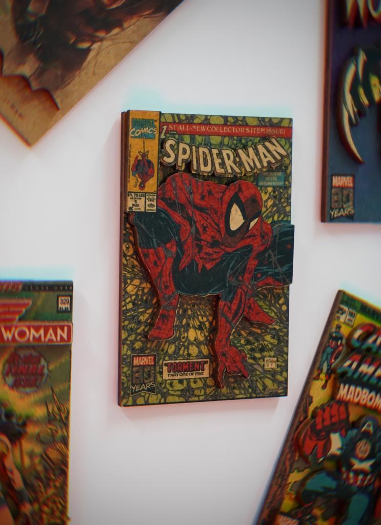 Imã de Geladeira 3D Capa Quadrinhos Comics Retrô Homem Aranha Spider-Man: Marvel Comics Adesivo Magnético - EV