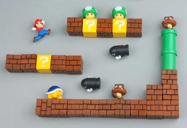 Imã de Geladeira 3D Cenário Mario e Goomba: Super Mario Bros. Fase 1 Adesivo Magnético - EVALI
