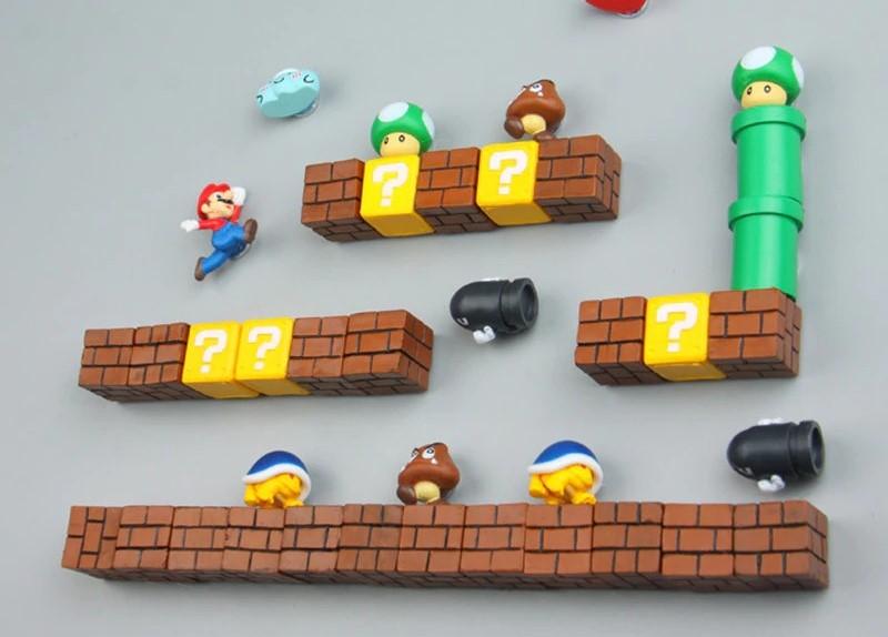 Imã de Geladeira 3D Cenário Mario e Goomba: Super Mario Bros. Fase 2 Adesivo Magnético - EVALI