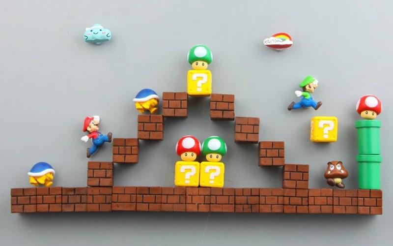 Imã de Geladeira 3D Cenário Mario e Luigi: Super Mario Bros. Fase 3 Adesivo Magnético - EVALI