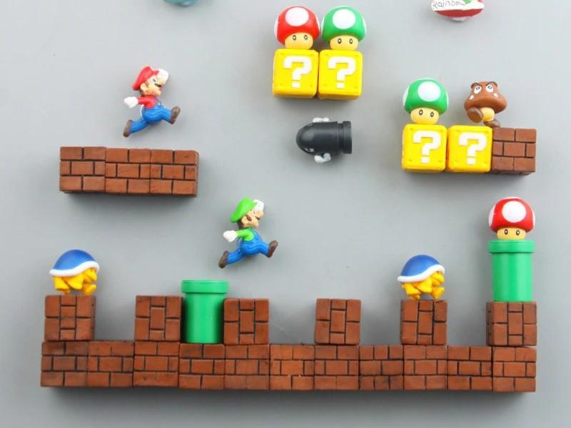 Imã de Geladeira 3D Cenário Mario e Luigi: Super Mario Bros. Fase 4 Adesivo Magnético - EVALI