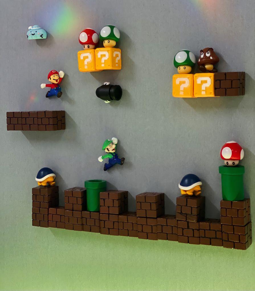 Imã de Geladeira 3D Cenário Mario e Luigi: Super Mario Bros. Fase 4 Adesivo Magnético - MKP