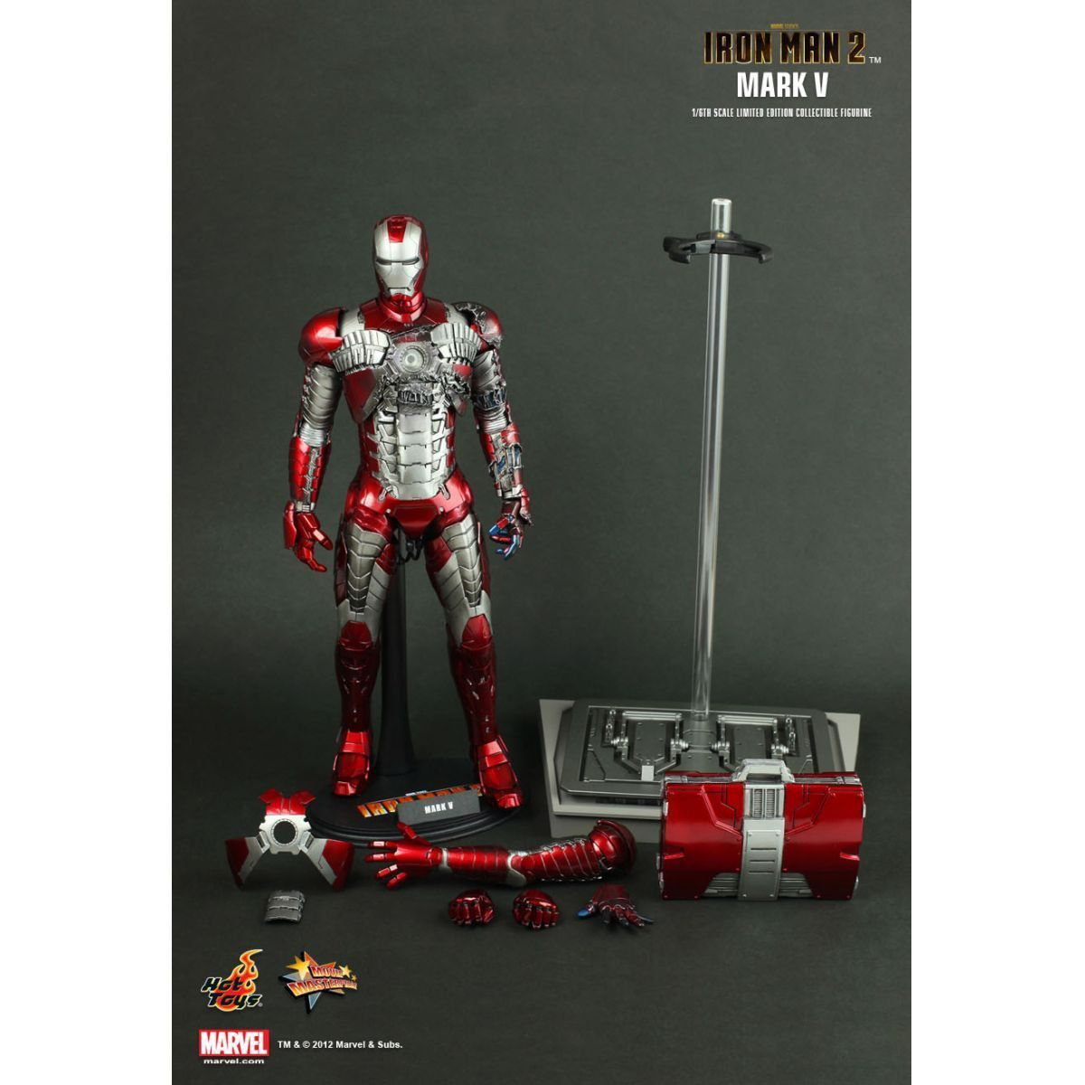 Action Figure Homem de Ferro (Iron Man) Mark V: Homem de Ferro 2 (Iron Man 2) Escala 1/6 (MMS145) - Hot Toys