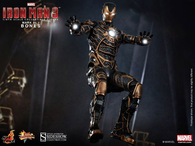Boneco Iron Man Mark XLI Bones: Homem de Ferro 3 (Iron Man 3) Escala 1/6 (MMS251) - Hot Toys