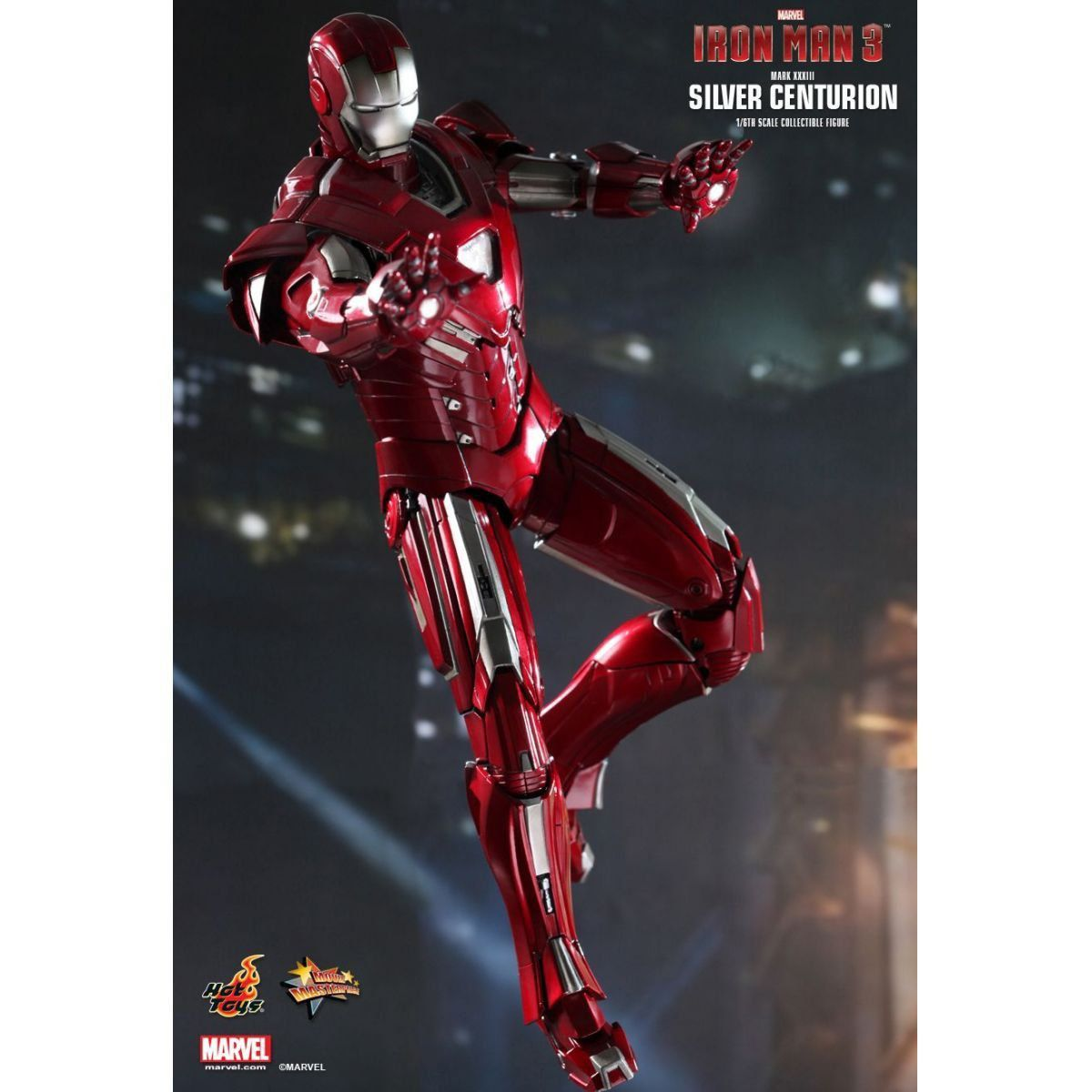 Action Figure Iron Man (Mark XXXIII Silver Centurion): Iron Man 3 (Homem de Ferro 3) Boneco Colecionável Escala 1/6 (MMS213) - Hot Toys