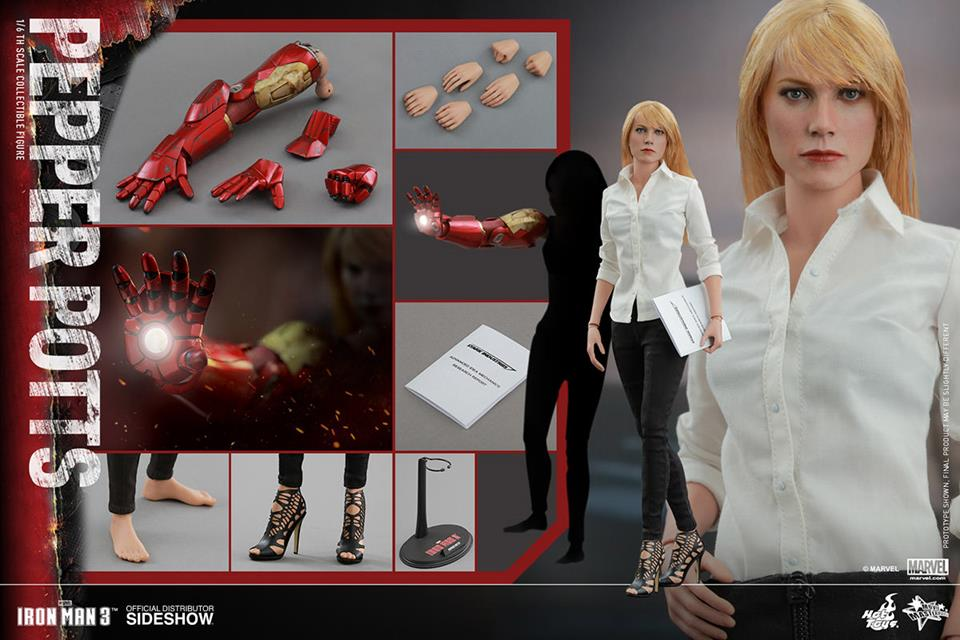 Boneco Pepper Potts: Homem de Ferro 3 (Iron Man 3) Escala 1/6 - Hot Toys - CD