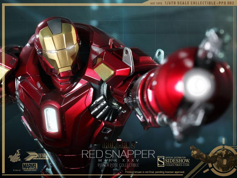 Action Figure Homem de Ferro (Iron Man): Homem de Ferro 3 (Iron Man 3)  (Red Snapper) (Mark XXXV) (Escala 1/6) - Hot Toy