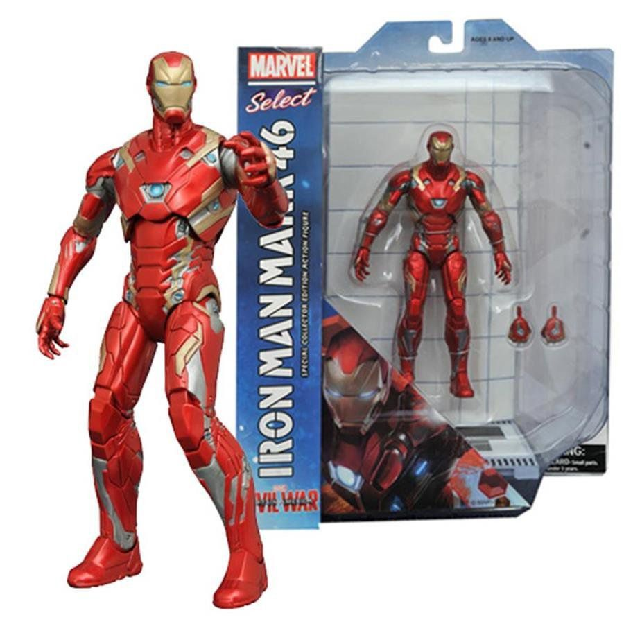 Action Figure Homem de Ferro (Iron Man) Mark XLV: Capitão América: Guerra Civil Marvel Select - Diamond Select