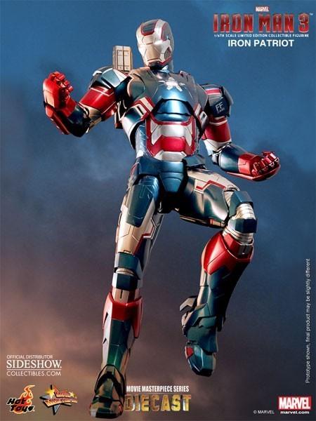 Boneco Patriota de Ferro (Iron Patriot): Homem de Ferro 3 ( Iron Man 3) Diecast (MMS195D01) Escala 1/6 - Hot Toys