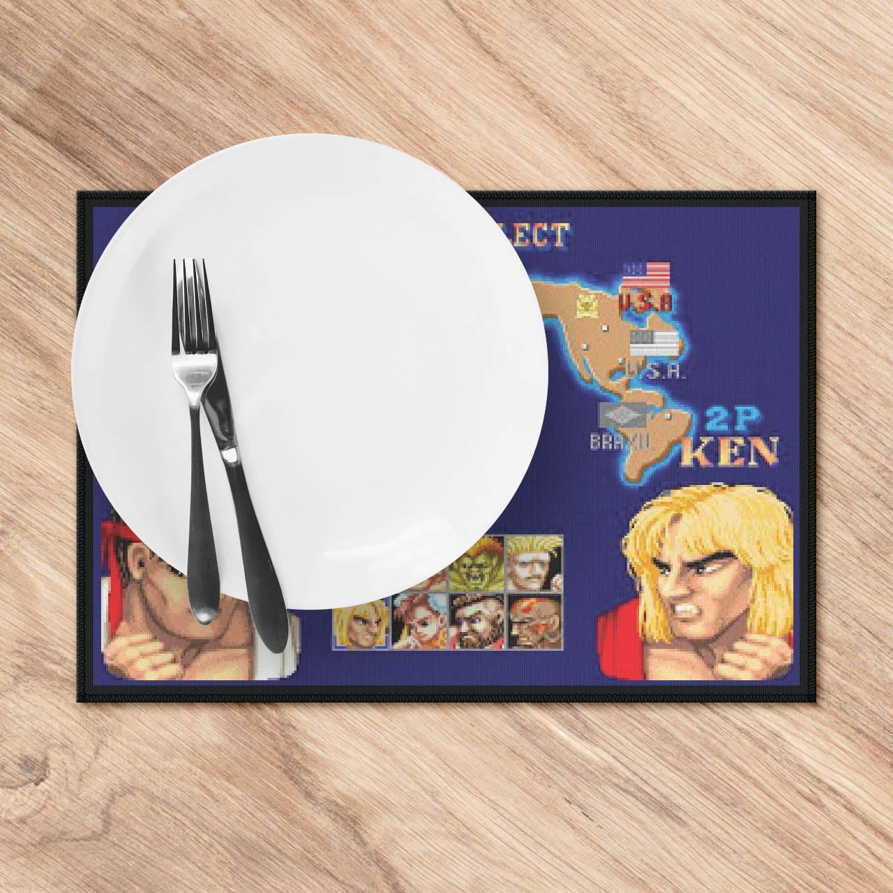 """Kit Jogo Americano Para Aparelho De Jantar """"Player Select"""": Street Fighter"""