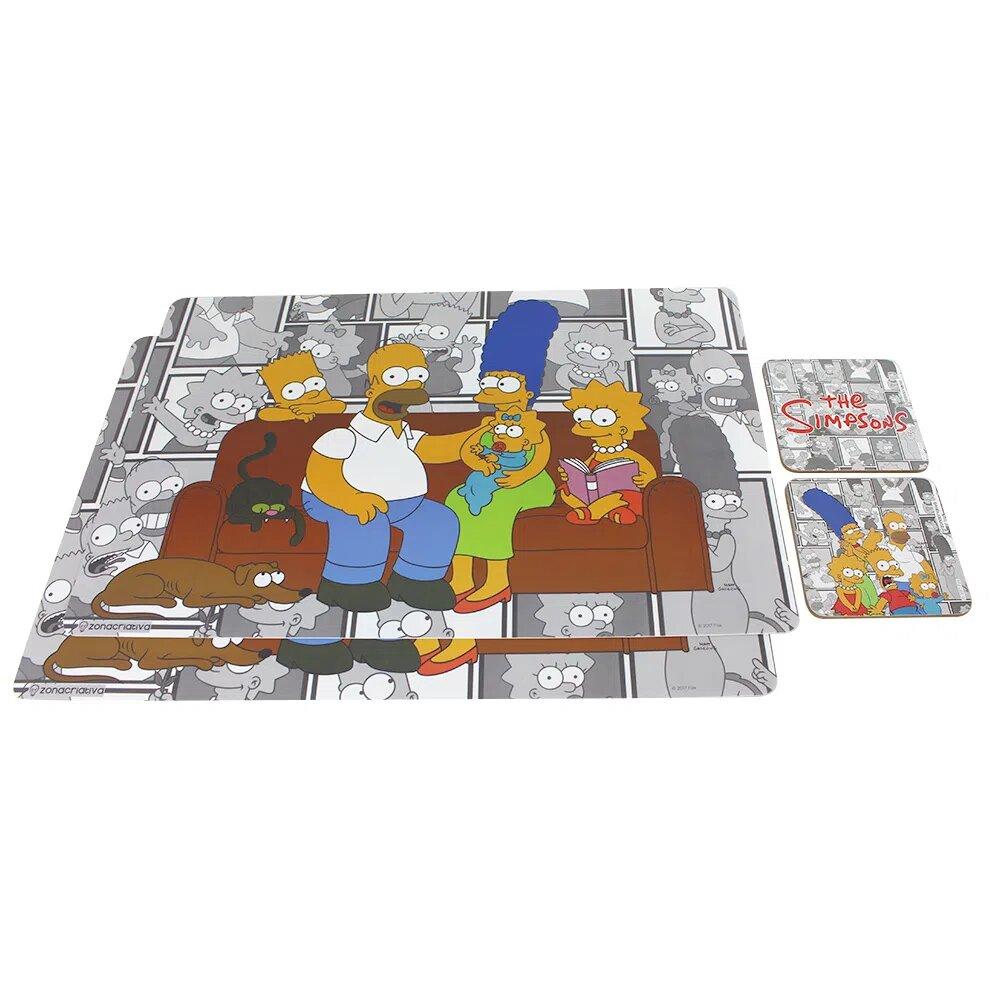 Jogo Americano: Simpsons Família (Kit com 4 Peças e Porta Copos) - Zona Criativa