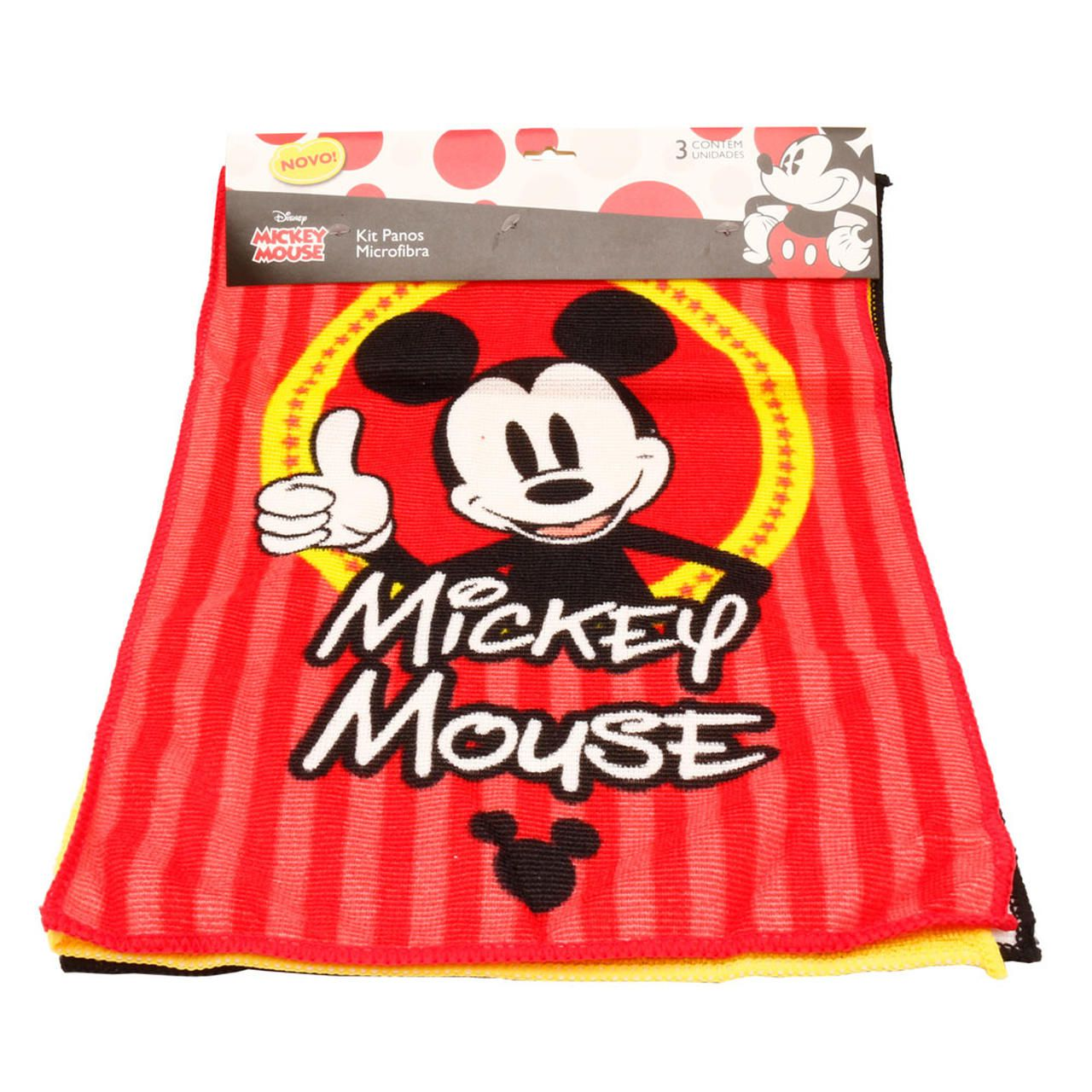 Jogo Com 3 Panos Microfibra: Mickey Mouse - Disney