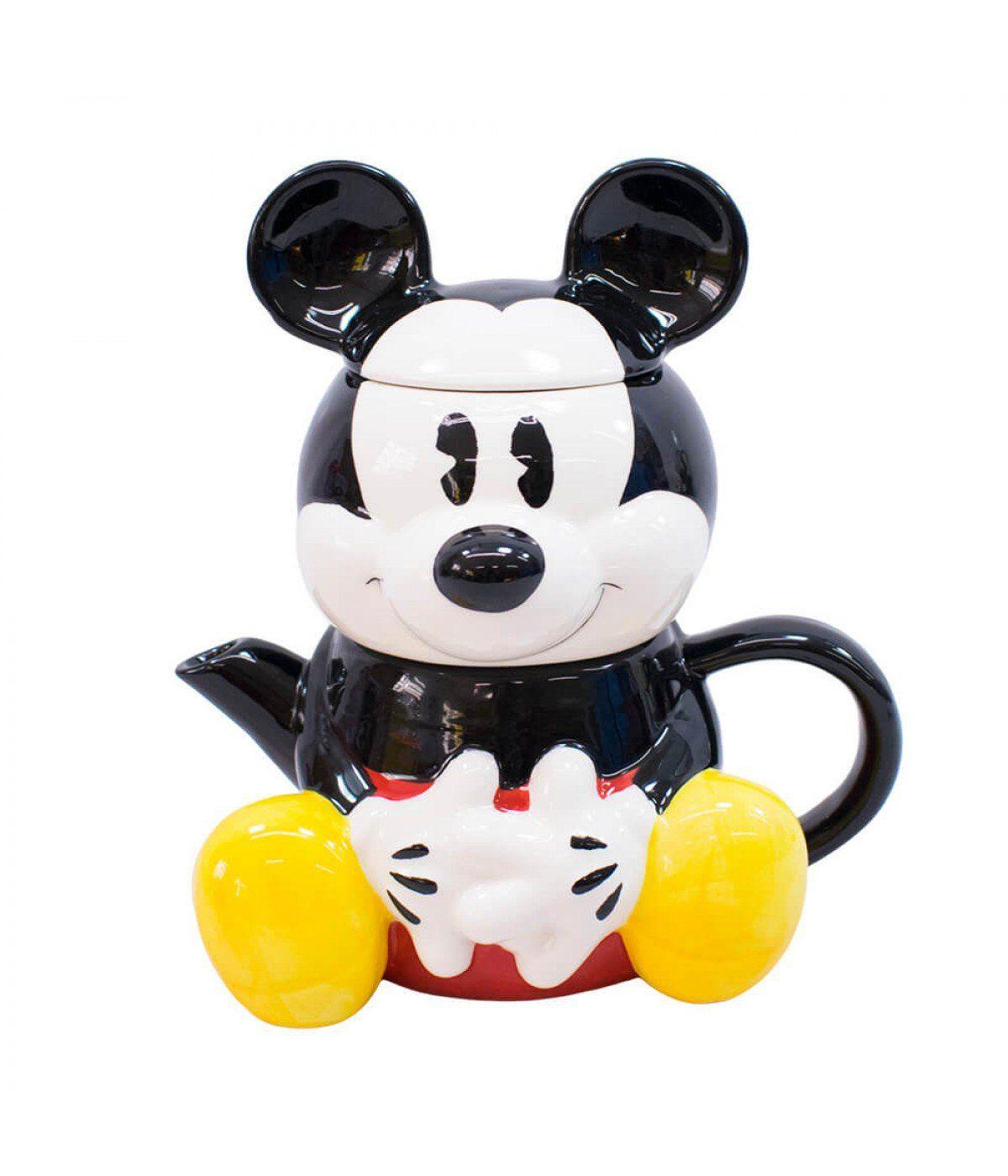 Jogo de Bule e Caneca Mickey Mouse: Mickey e Minnie Mouse - Disney 720ml