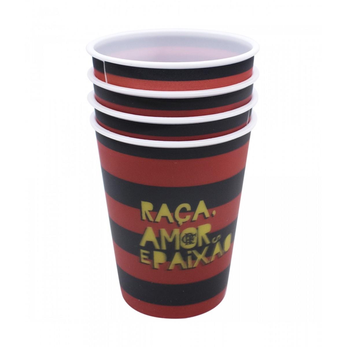 Jogo de Copos 3D Flamengo (4 Peças)