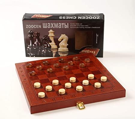 Jogo de Xadrez, Dama, Gamão 3 Em 1 Tabuleiro Couro - Zoocen Chess Set