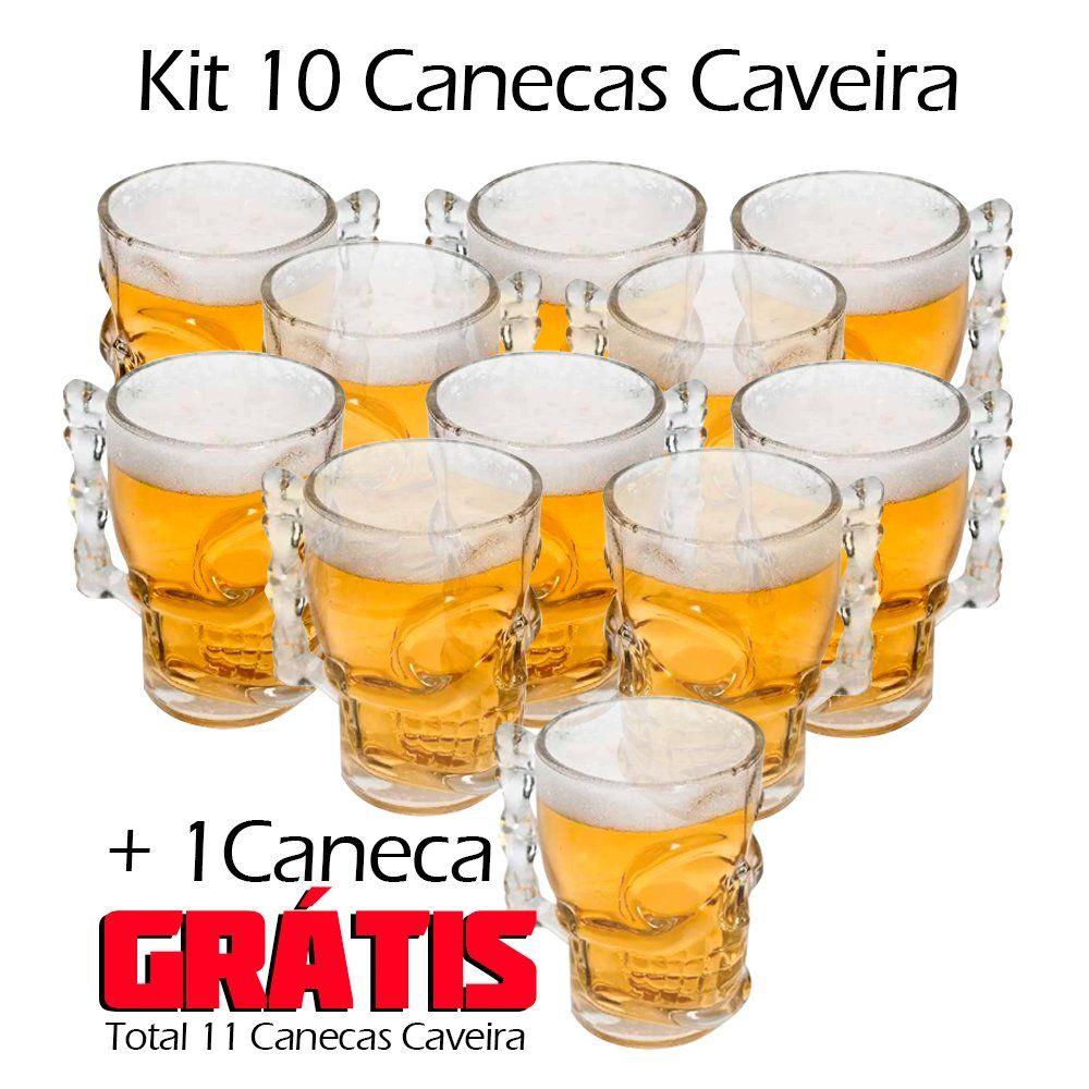 Kit 10 Canecas de Vidro Caveira 510ML ( + 1 Grátis)