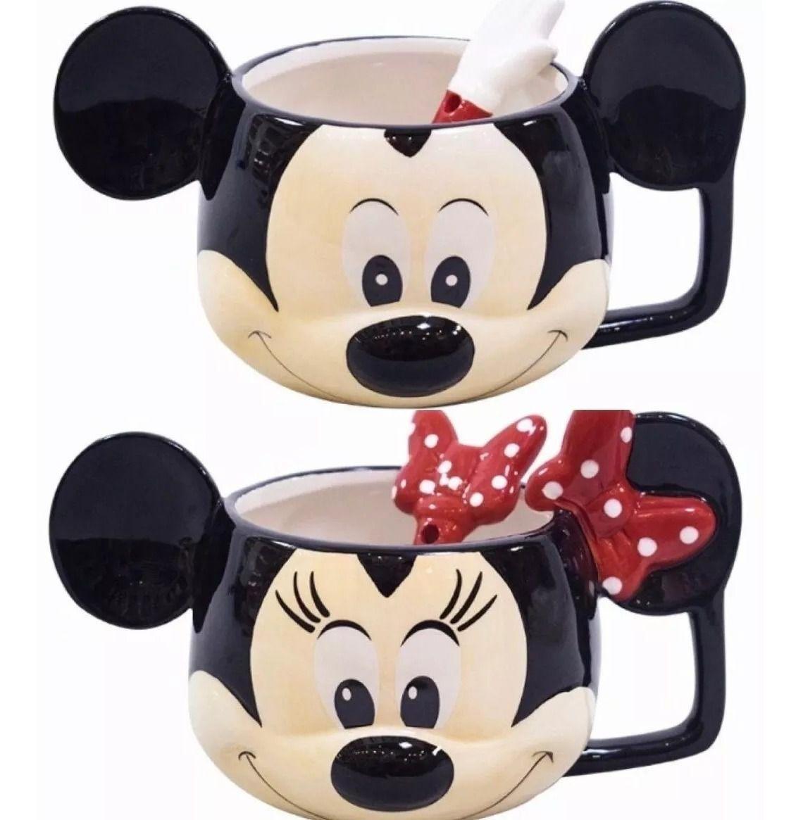Kit 2 Canecas: Mickey E Minnie Com Colher Inclusa Em Porcelana - Disney