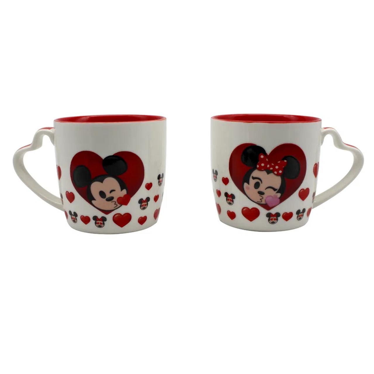 Kit 2 Canecas Mickey & Minnie (Alça de Coração): Disney (300ml) - Zona Criativa