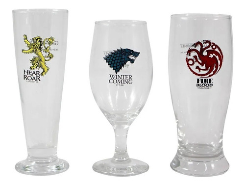 Kit 3 Copos Brasões Game Of Thrones - Zona Criativa