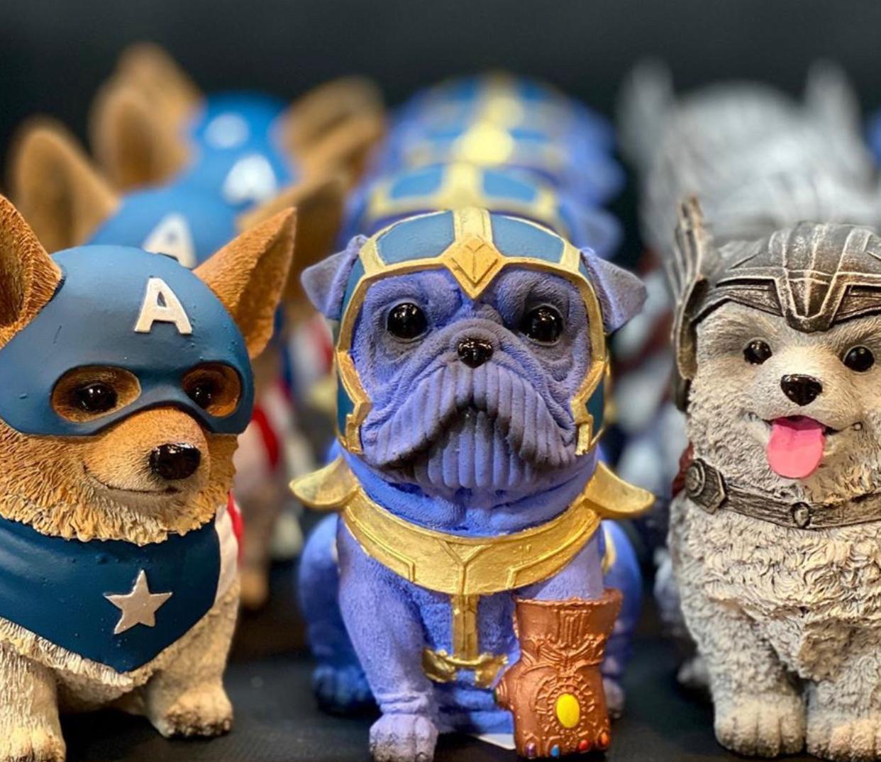 Kit 3 Pet Heroes Dog (Capitão) (Thor) (Thanos): Linha Cachorro Decoração