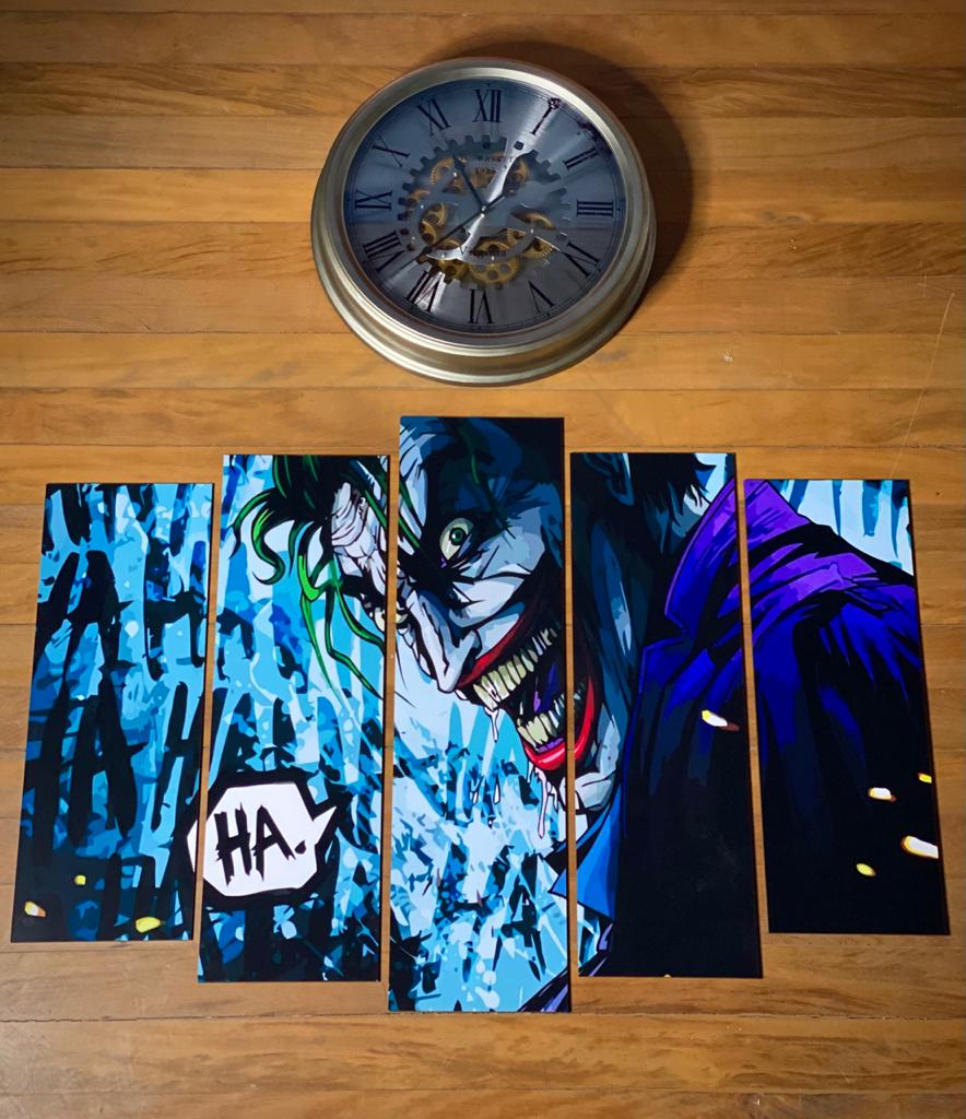 "Kit 5 Quadros Mosaico Coringa ""HA"": Coringa (Joker)"