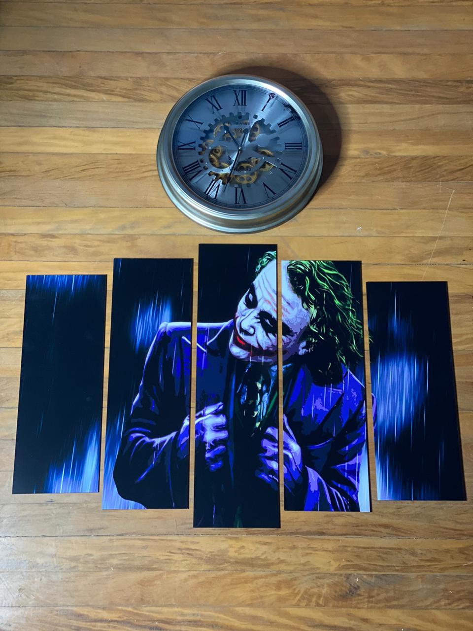 Kit 5 Quadros Mosaico Coringa (Joker): Batman O Cavaleiro das Trevas - Arte 1