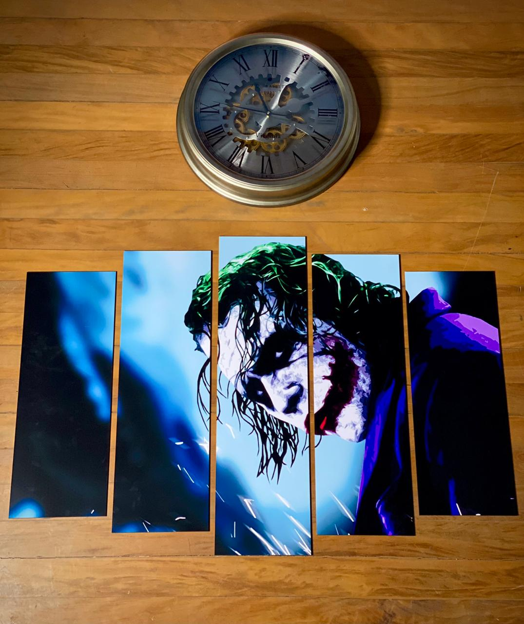Kit 5 Quadros Mosaico Coringa (Joker): Batman O Cavaleiro das Trevas - Arte 2