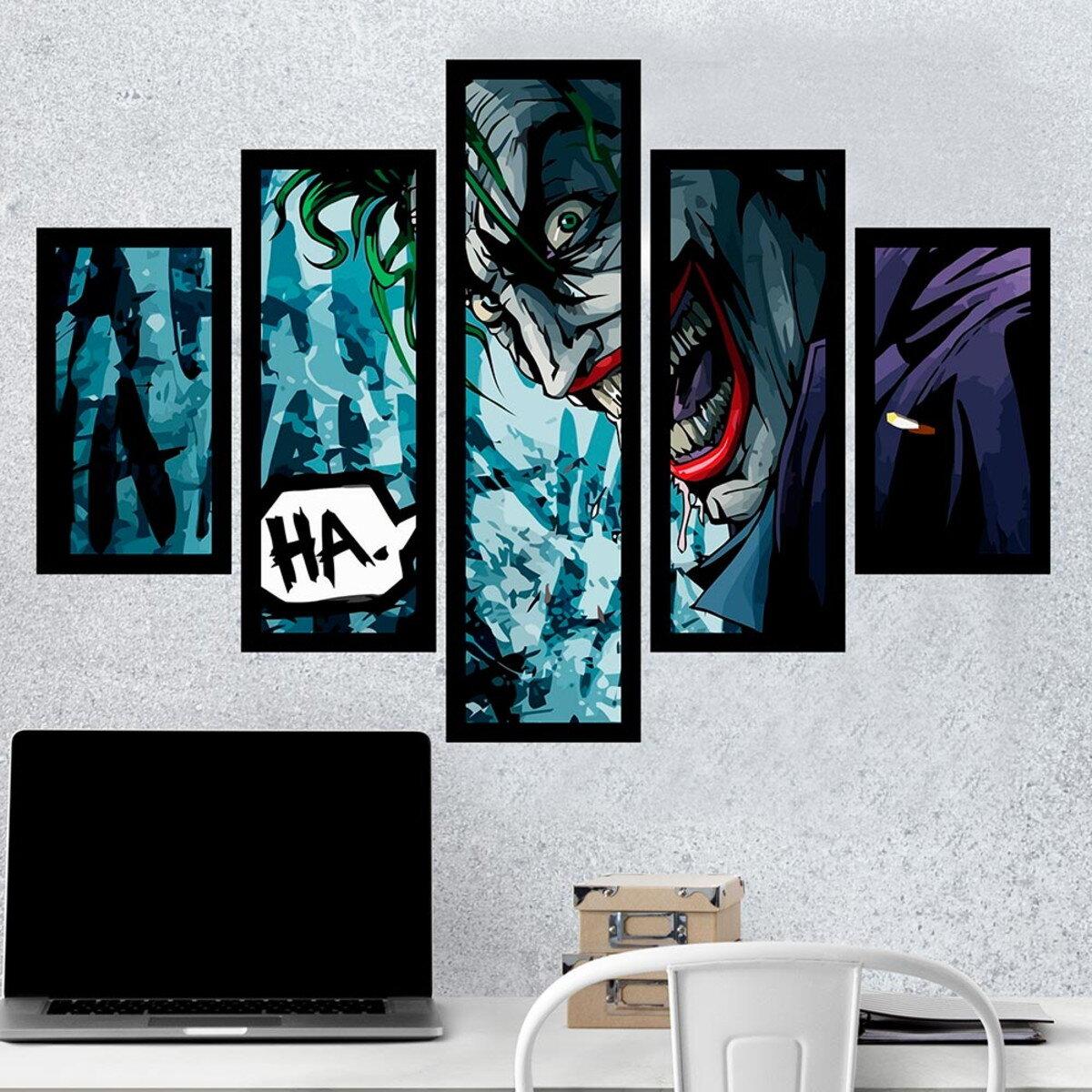 Kit 5 Quadros Mosaico: Coringa (Joker) - Dc Comics - EV