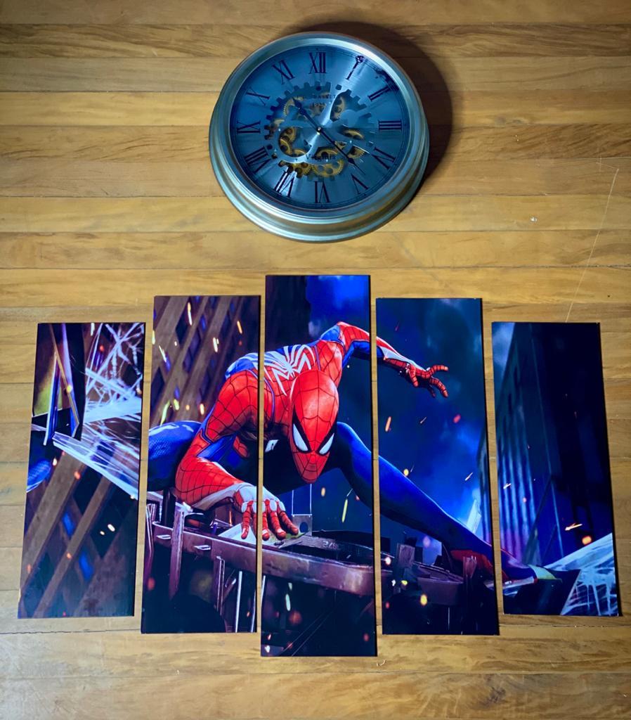 Kit 5 Quadros Mosaico Homem-Aranha (Spider-Man): Marvel's Spider-Man