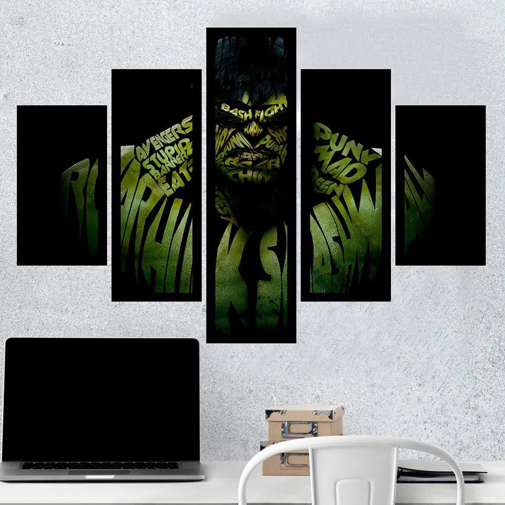 Kit 5 Quadros Mosaico Hulk: Marvel - EV