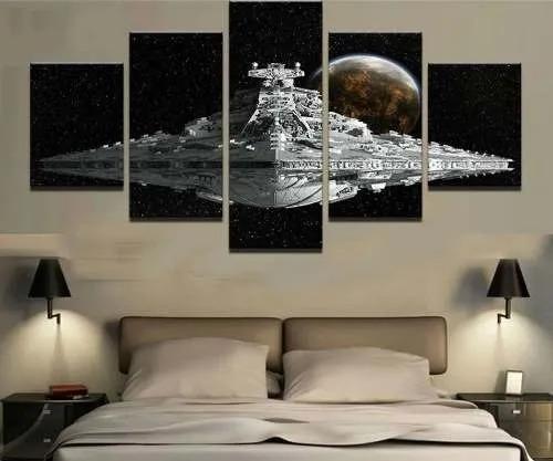 Kit 5 Quadros Mosaico Nave Imperial Star Destroyer: Star Wars