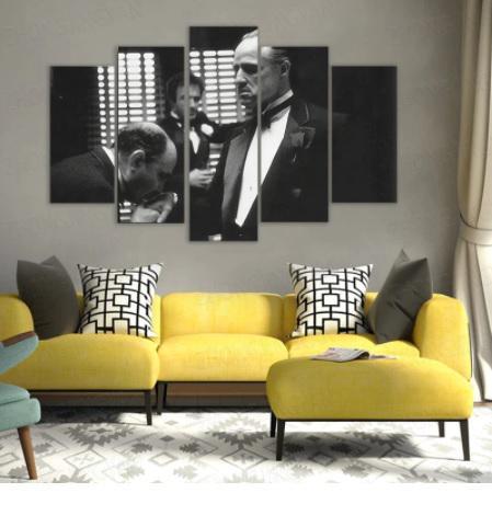 Kit 5 Quadros Mosaico Vito Corleone O Poderoso Chefão - EV