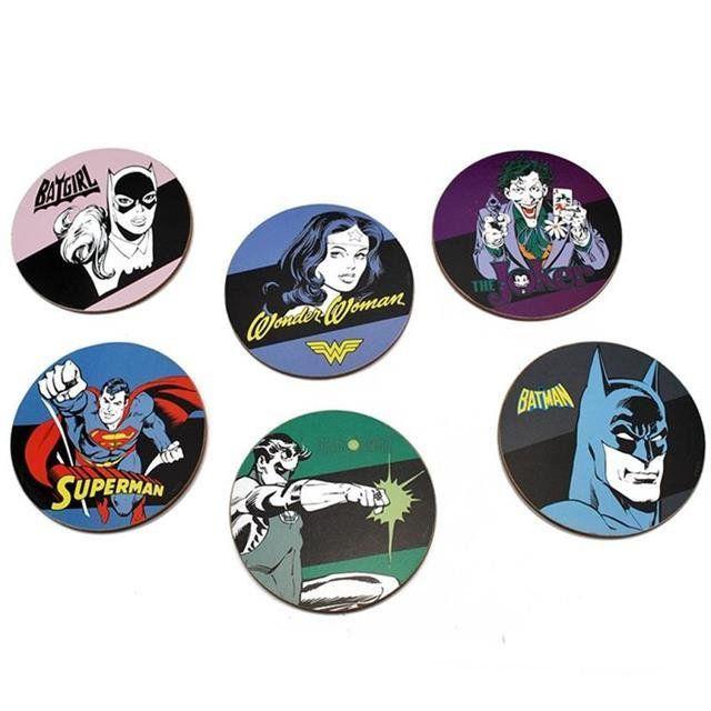 Kit 6 Porta Copos MDF Herois - DC Comics