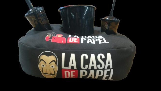 Kit Almofada Porta Pipoca La Casa de Papel (Money Heist) 2 copos