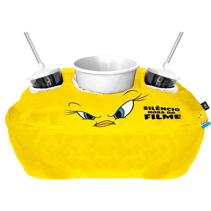 Kit Almofada Porta Pipoca Piu-Piu Tweety Bird Silêncio Hora Do Filme: Looney Tunes - EV