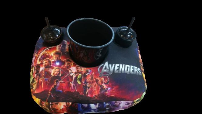 Kit Almofada Porta Pipoca Saga Vingadores (Avengers) Marvel 2 Copos