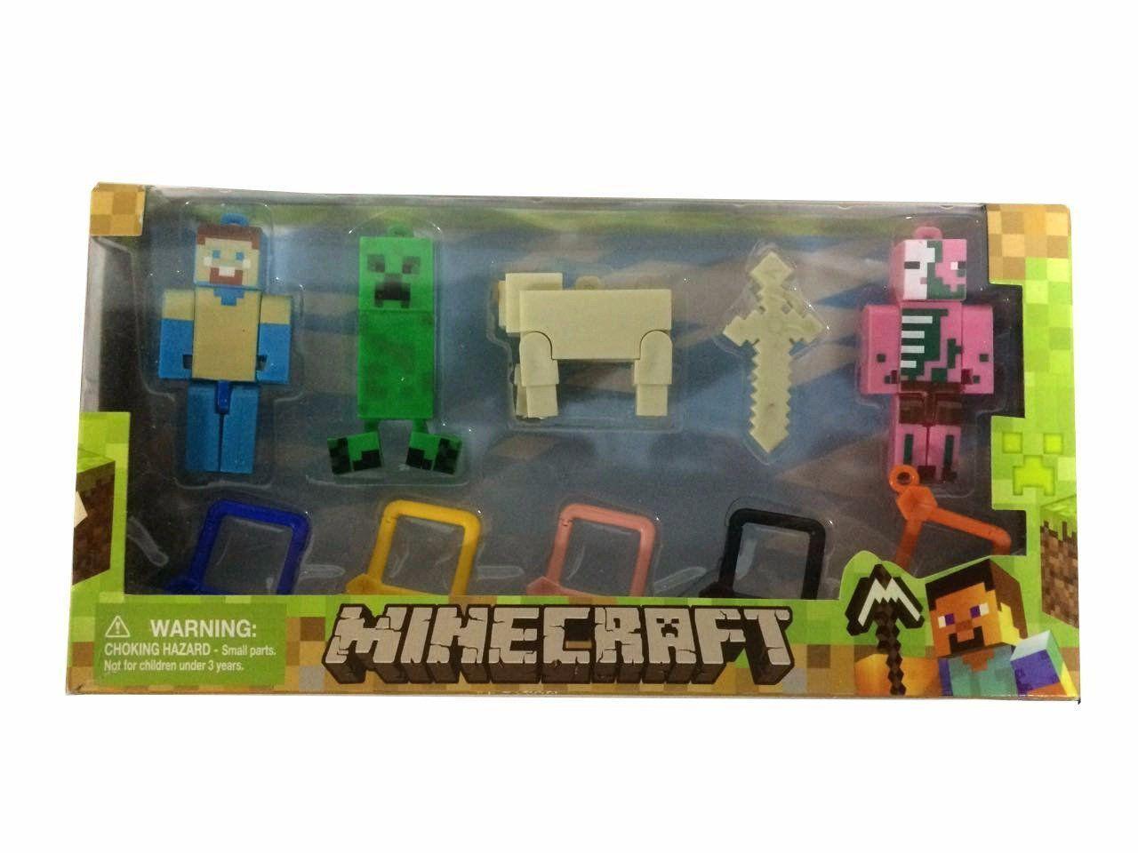 Kit Chaveiro Minecraft: Humano, Homem-Porco Zumbi e Creeper (5 Peças)