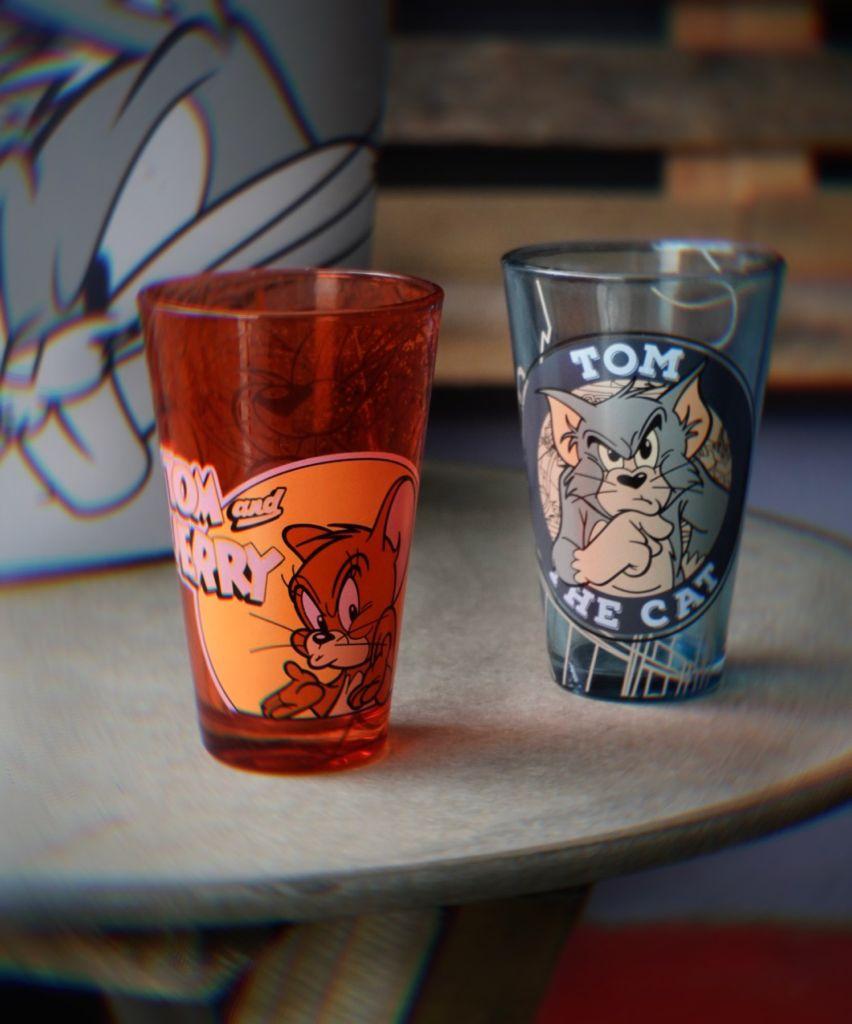 Kit Com 2 Copos de Vidro Tom e Jerry: Hanna Barbera - Metrópole
