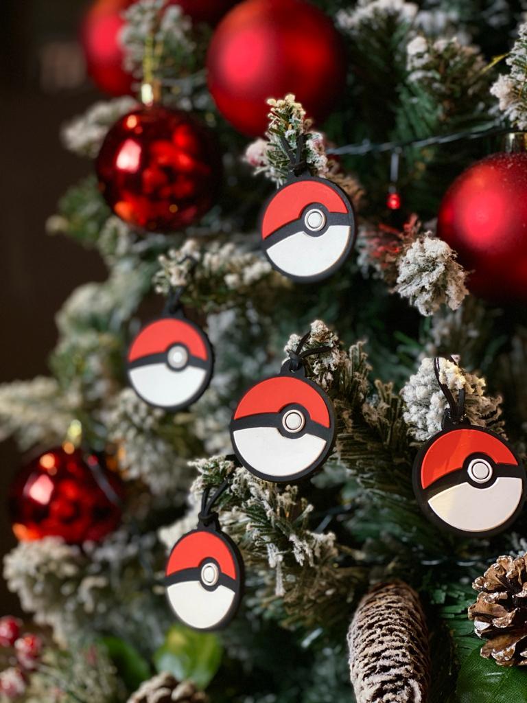 Kit Com 5 Enfeites Árvore de Natal Geek Pokebola: Pokémon