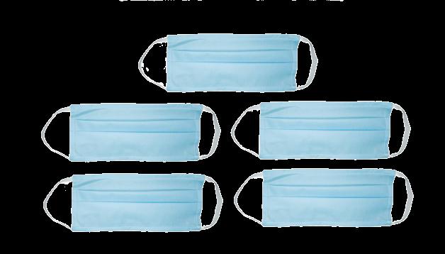 Kit com 5 Máscaras Azuis de Proteção Facial