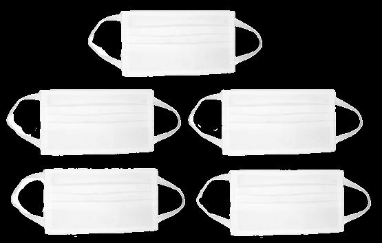 Kit com 5 Máscaras Brancas de Proteção Facial